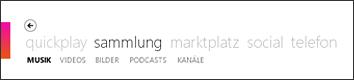 """Menü """"Sammlung"""" in der Zune-Software"""