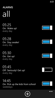 List of all alarms on Windows Phone 8
