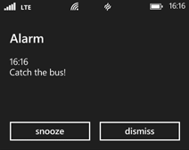 Alarm notification on Windows Phone 8