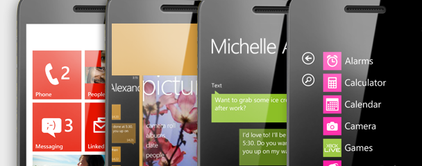 Four phones showing Start, the app switcher, Messaging and the App list.