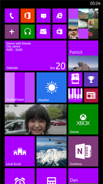 The large Start screen in Windows Phone 8