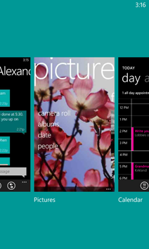 The app switcher showing Messaging, Pictures, and Calendar.