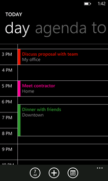 Calendar with multiple accounts and meetings