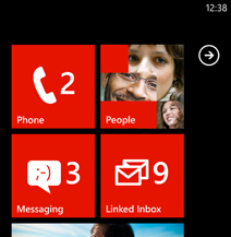 Start screen with Linked inbox Tile