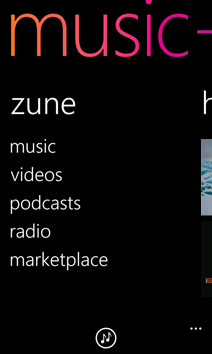 Zune menu in Music + Videos