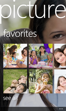 Favorites in the Pictures Hub