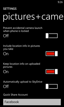 Paramètres de Photos+Caméra