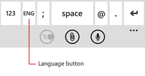 Keyboard showing button used to change languages
