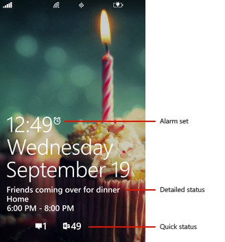 Lock screen with callouts showing alarm status, detailed status, and quick status icons.