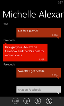 Windows Phone combines text and chat