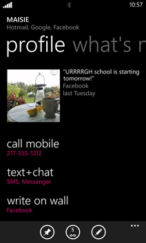 Windows Phone 8 contact card