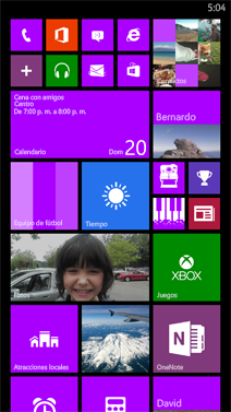 Pantalla de inicio grande en Windows Phone 8