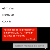 Copiar texto usando el menú