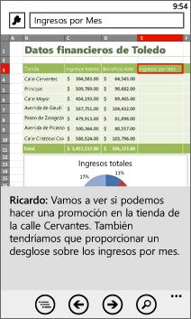 Libro abierto en Excel Mobile
