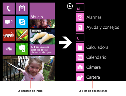 Lista de aplicaciones de Windows Phone