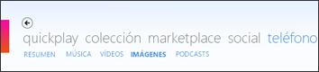 Menú Imágenes del software de Zune