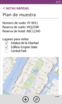 Archivo de OneNote abierto en Windows Phone
