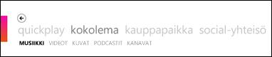 Zune-ohjelmiston Kokoelma-valikko