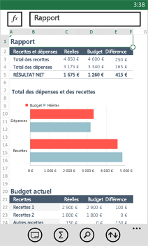Classeur ouvert dans Excel Mobile