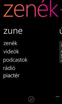 Zune képernyő
