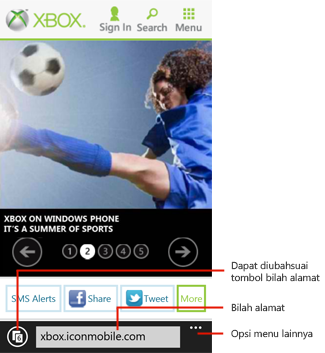 Internet Explorer 10 untuk Windows Phone