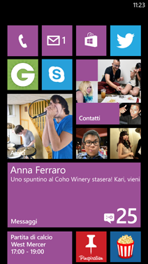 Schermata Start di Windows Phone 7.8
