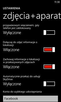 Ustawienia na ekranie Zdjęcia+aparat