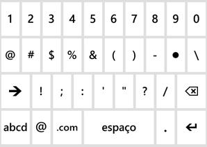 Teclado de números e símbolos