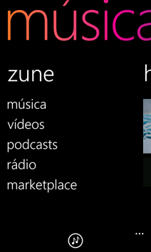 Menu do Zune em Música + Vídeo