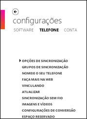 Sincronizar opções no software Zune