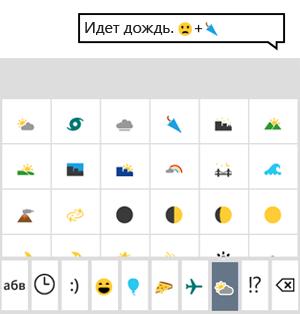 Клавиатура со смайликами: www.windowsphone.com/ru-ru/how-to/wp8/basics/keyboard-tips