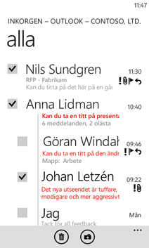 E-post på Windows Phone