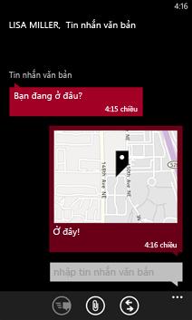 Chia sẻ ảnh video vị trí và các nội dung khác trong tin nhắn văn bản với Windows Phone 8