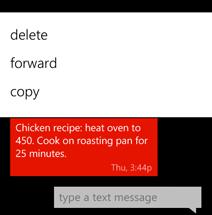 Copying text using the menu
