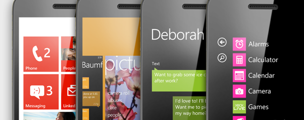 Four phones showing Start, the app switcher, Messaging, and the App list.