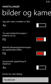 Innstillinger for Bilder + kamera