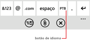 Teclado com texto explicativo mostrando o botão usado para alterar os idiomas